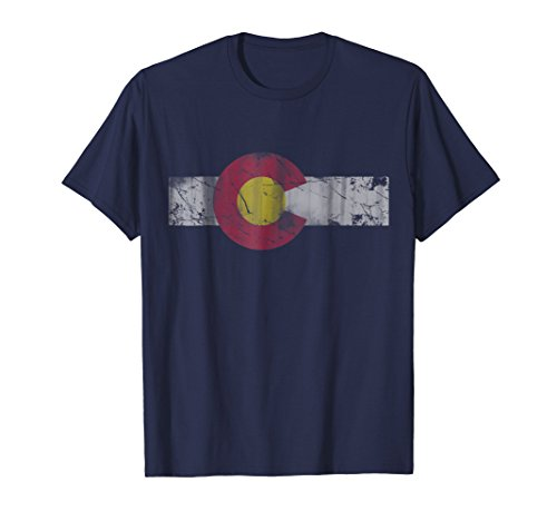 Mens Vintage Patriotic Flag Of Colorful Colorado T Shirt Large Navy
