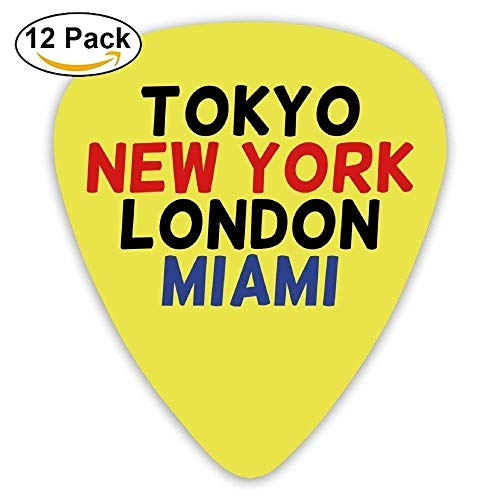 HOOAL Custom Guitar Picks, Jewelry Gift For Guitar Lover Bass Guitar -Tokyo Ny London Miami,12 Pack -