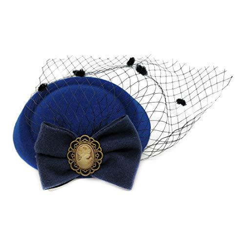 (Ahugehome Fascinator Hair Clip Headband Pillbox Hat Victorian Lady Bowknot mesh Tea Party (V Dark Navy Blue))