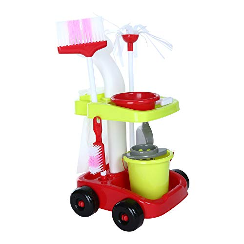 Hisoul Hot  Kids Cleaning Set - Toy Cleaning Set Trolley Cart, Mop, Pail, Broom, Dustpan and Other Play Pretend Toys for Ages 3 & Up - Shipped from USA - And Broom Mop Baby