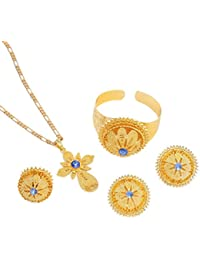 Gold Plated Ethiopian Jewelry Sets Red Blue Green Stone Habesha African Jewelry