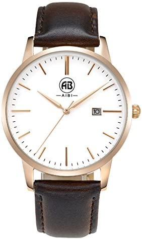 AIBI Men s Watch Classic Quartz Analog Business Wrist Egg White Face Rosegold Case Watches with Date Brown Leather Strap 3ATM Waterproof for Men