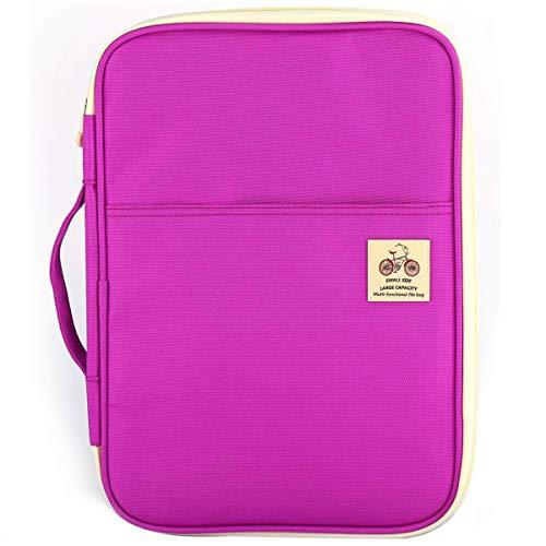 (JAKAGO Multi Function Travel Portfolio Waterproof Business File Holder Organizer for Passport Fire HD 7& Samsung Galaxy Tab & Business Cards with Zippered Closure (Purple))