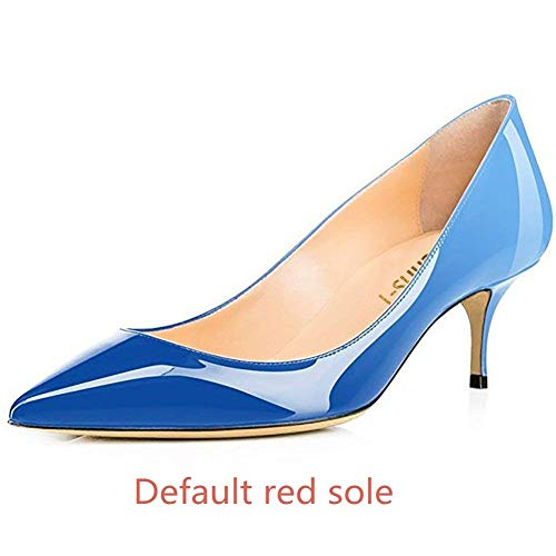 US Women's S0le Pointed Gradient Heels Slip 65MM 14 Red Low Office 5 On Blue Heels bottom Chris T Kitten Toe Pumps 1Hvw5HZq