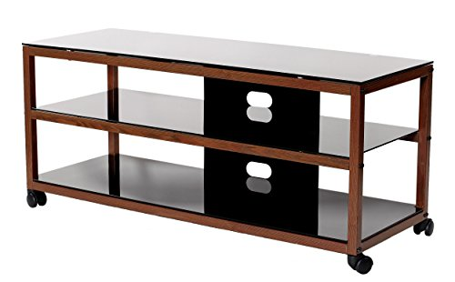 TransDeco TV Stand TD585DB with Casters & 2 AV Shelves for Flat Panel TVs, 50'' X 18'' X 21.9'', Dark Oak/Black by TransDeco (Image #1)