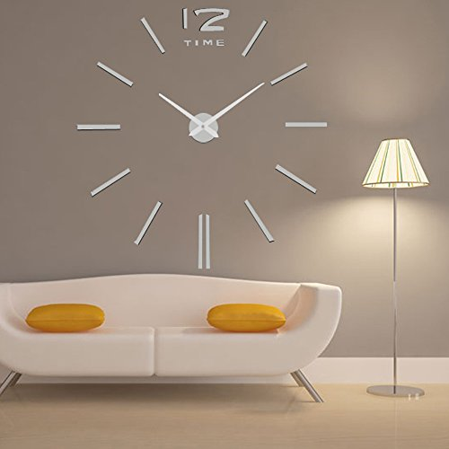 N.SunForest 3D Crystal Acrylic Wall Sticker Creative Clock Self-Adhesive DIY Wall Murals Home Decor Wall Art - Silver