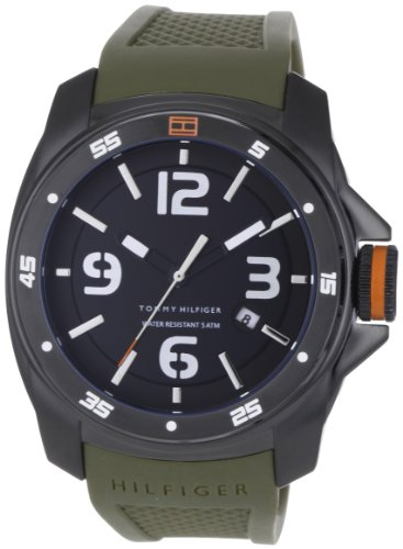(Tommy Hilfiger Men's 1790772 Sport Black Ionized Plated Case on Olive Silicon Strap Watch)