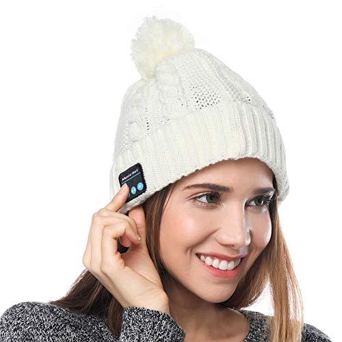 Shnmin Bluetooth Beanie Hat for Women Winter Warm Cap Hands Free Microphone & Stereo Wireless Headphone for Women (White)