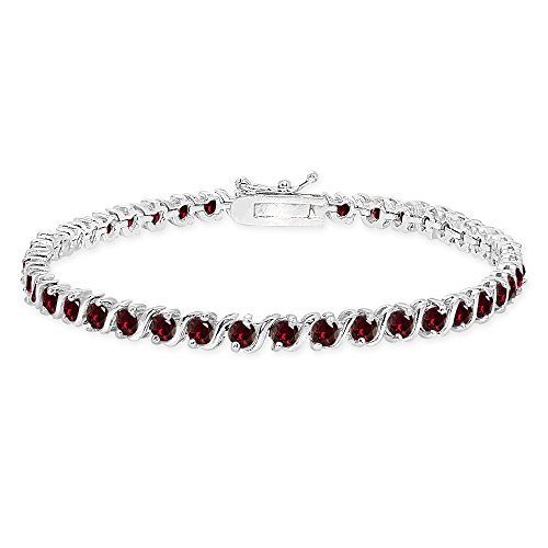 Sterling Silver Created Ruby S Design Bar Classic Tennis ()