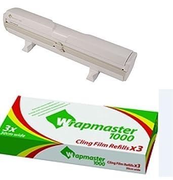 """Kleen WRAPMASTER Dispensador 1000 12"""" más x 3 rollos de film transparente 30cm x 100m"""