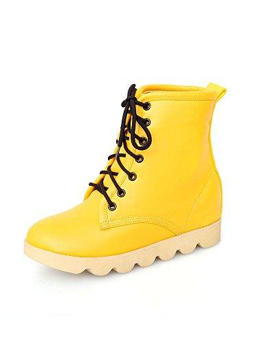 Beige-us8   eu39   uk6   cn39 XZZ  Chaussures Femme - Habillé   Décontracté - Noir   Jaune   Rose   Beige - Plateforme - Rangers   Bout Arrondi - Bottes - Similicuir