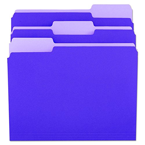 Universal 10505 File Folders, 1/3 Cut One-Ply Top Tab, Letter, Violet/Light Violet (Box of 100)