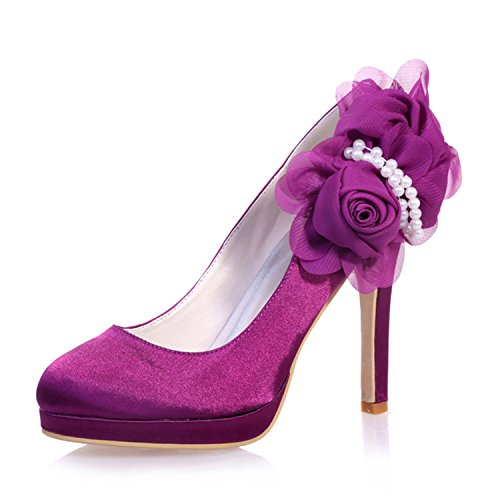 ZXF6915 Prom 07 Shoes Toe Wedding Women's Shoes Satin Bridal Clearbridal for Purple Round Pv8BR