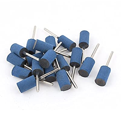 3mm Shank 12mm Cylinder Head Blue Rubber Polishing Mounted Point 18Pcs