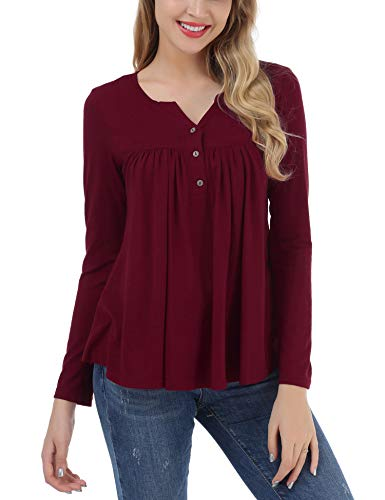 FISOUL Women's Button up Long Sleeve T-Shirt Casual V Neck Blouse Solid Tunic Tops Wine (Solid V-neck Tunic)