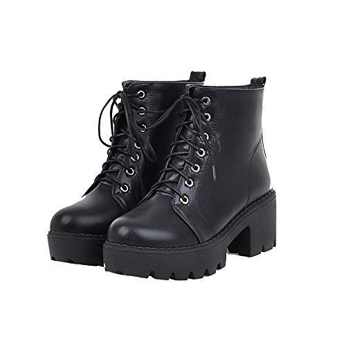 Heels Round AgooLar Lace Solid PU up Black Kitten Boots Women's Toe 8SWqxRwaf