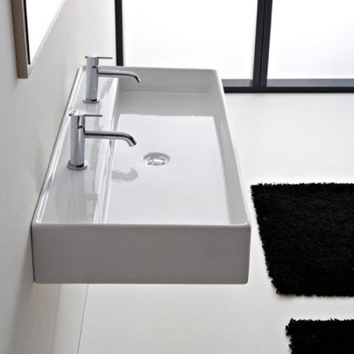 Scarabeo 8031/R-120A-3Hole-637509884338 Luxury Wall Mounted Ceramic Sink, White