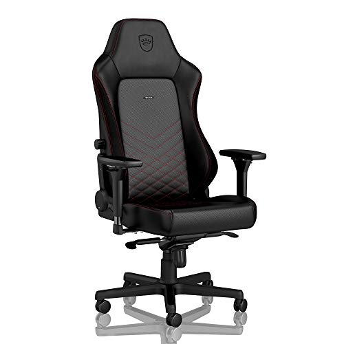 noblechairs Hero Gaming Chair - Office Chair - Desk Chair - PU Leather - 330 lbs - 125° Reclinable - Lumbar Support - Racing Seat Design - Black/Red ()