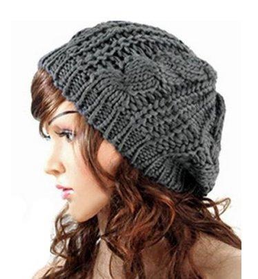 SunHouse New Winter fashion Women Beret Braided Baggy Beanie Crochet Knitted Hat Cap (Dark Gray) (Beret New Crochet)