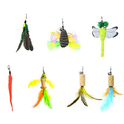 JTEEY Cat Toys Interactive,9 Packs Retractable Cat Toy Wand, Cat Feather Toy, Assorted Refills Teaser Exerciser Wand Toy Set,Fish Bird Butterfly Dragonfly Worm