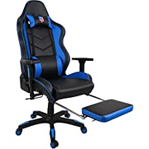 Kinsal Ergonomic High-back Large Size Gaming Chair, Office Desk Chair Swivel Blue PC Gaming Chair with Extra Soft Headrest, Massage Lumbar Support and Retractible Footrest (Blue)
