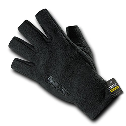 Polar Fleece Glove Liners (Rapdom Tactical Polar Fleece Half Finger Protected Cold Weather Gloves, Blk, L)