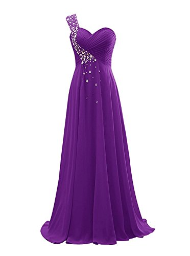 Anlin Women's Beaded One Shoulder Chiffon Prom Dress Pleated long Bridesmaid Evening Gown Purple us17w