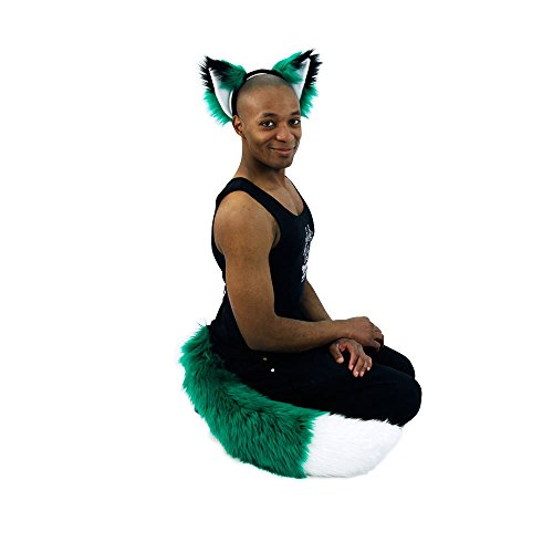 Pawstar Furry Fox Yip Ear Headband and Full Tail Combo Costume Cosplay Set - Green and White Color (Green Fox Fur Headband)