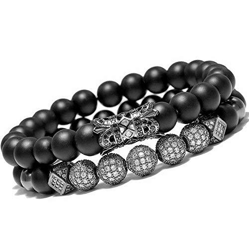 Mikash Luxury Micro Pave CZ Balls King Crown Charm Beads Bracelet Men Matte Onyx Stone | Model BRCLT - 9759 |