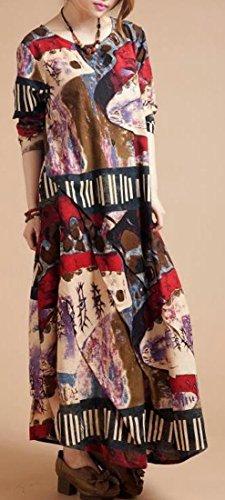 Cruiize Dress Irregular Womens Print Fall Linen Style 2 Winter Ethnic Long rqrnpFS