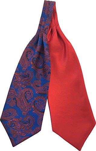 Paisley Self Satin Red Cravats Tie Blue Men's Ascot Royal amp; g7AnRAx