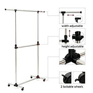 SUNPACE Adjustable Double Rods Rolling Garment Rack, Stainless Steel Clothes Drying Hanging Clothing Rack