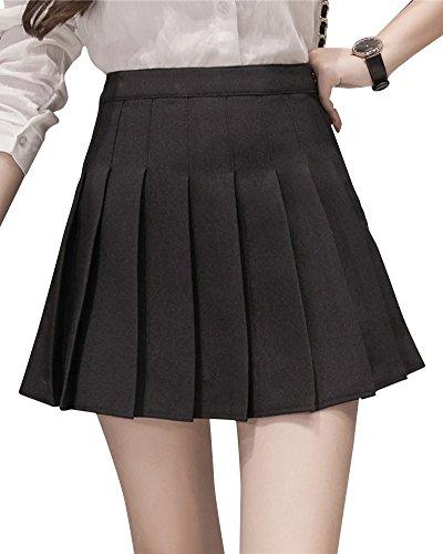 Patineuse Mini Court Haute Femme En Jupe Taille Noir Plisse Jupe qtAw6aaB4U