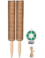 Liseng Kokos Totem Moss Stab voor planten, met 65 fuu tuin twist binden voor het klimmen van kamerplanten (5 x 40 cm)