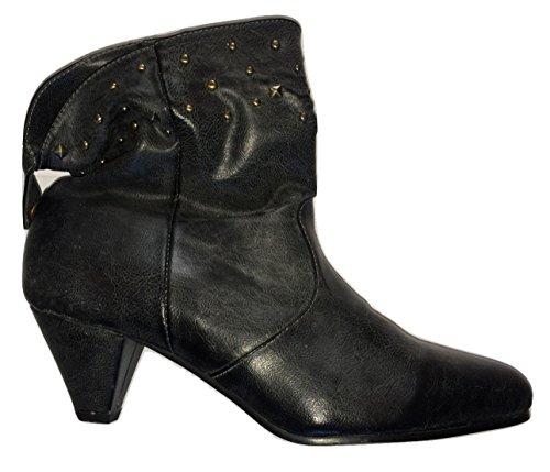 Noir clouté Dessus aspect cuir Bottines f5656