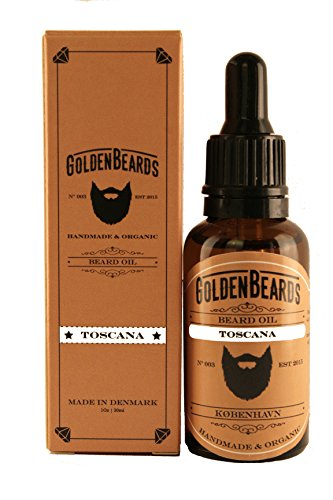 Organic Beard Oil – TOSCANA - 30ml Golden Beards Jojoba & Argan Oil Moisturise your beard and skin, the perfect grooming product for your beard. 100% Vegan & Organic -MADE IN DENMARK-