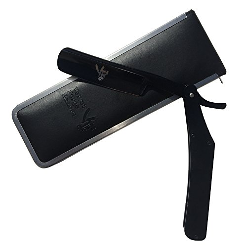 The Best STRAIGHT RAZOR ~ Quality Stainless Steel ~ Will Never Rust - Black on Black Handle and Foldable Blade for a Sleek Professional Look - Get a Quality Barber Shave at Home
