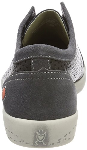 grey dk black suede Sneaker Ica388sof Softinos Donna Smooth Schwarz xwq8T0UC