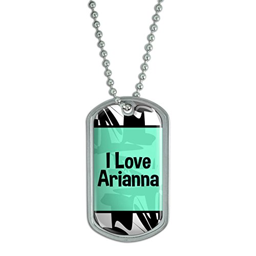 Double Heart Tag Necklace - Graphics and More Dog Tag Pendant Necklace Chain I Love Heart Name Aa-Ay - Arianna