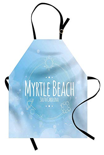 Myrtle Beach Apron, South Carolina Beach Lettering with Sun Umbrella and Starfish Sketch, Unisex Kitchen Bib Apron with Adjustable Neck for Cooking Baking Gardening, Blue Baby Blue White