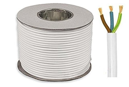 20 METRE COIL 3 CORE 13 AMP ROUND WHITE PVC MAINS ELECTRICAL CABLE 1.5MM PROTECH CABLES