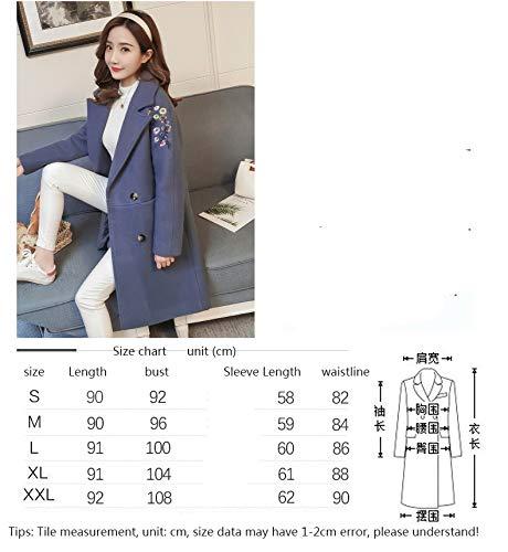 A Lunghe Ricamato Abbigliamento Beige Giacca Moda Studentessa l Azw Cappotto Top In Femminile blu Di Lana Maniche Femminile q8RxYwS