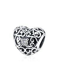 HMILYDYK White Crystal Heart Cubic Zirconia Charm Beads 925 Sterling Silver fit Pandora European Bracelets
