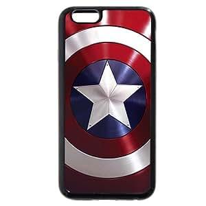 UniqueBox - Customized Personalized Black Soft Rubber(TPU) iPhone 6+ Plus 5.5 Case, Captain America Shield iPhone 6 Plus case, Only fit iPhone 6+ (5.5 Inch)