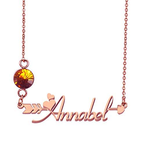HUAN XUN Custommized Arrow Name Birthstone Necklace Annabel]()