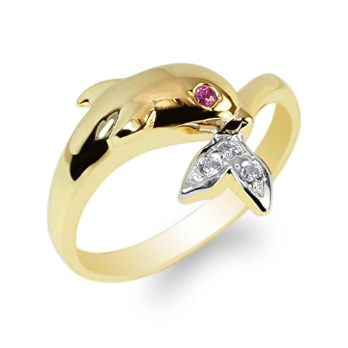 JamesJenny Ladies 14K Yellow Gold Whale Tails Ruby Eyed CZ Fancy Ring Size 7.5 (Whale 14k Yellow Gold)