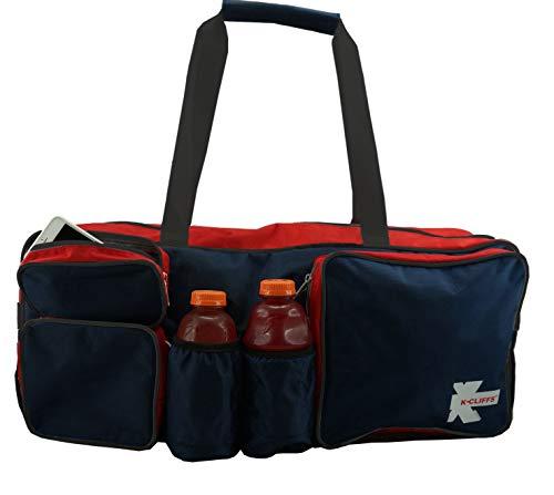 K-Cliffs Tennis Racquet Bag Heavy Duty Badminton Racket Bag Deluxe Quality Ballistic Nylon Squash Gear Duffel Bag with Shoe Compartment & 2 Water Bottle Holders Navy/Red/Black