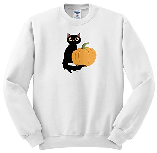 Janna Salak Designs Halloween - Cute Halloween Black Cat and Pumpkin - Sweatshirts - Adult SweatShirt XL (ss_242327_4)
