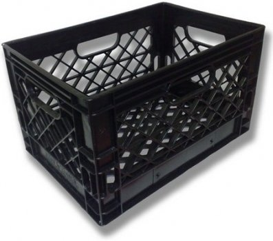 Authentic 19x13x11 6 Gallon 24 Quart Rectangular Dairy Milk Crate (BLACK) Dcrates B191311