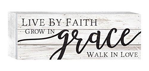 P. GRAHAM DUNN Live Faith Grace Love Whitewash 12 x 4.5 Solid Wood Boxed Pallet Plaque Sign ()